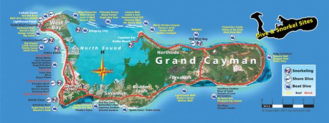 Grand Cayman Island Shopping Map